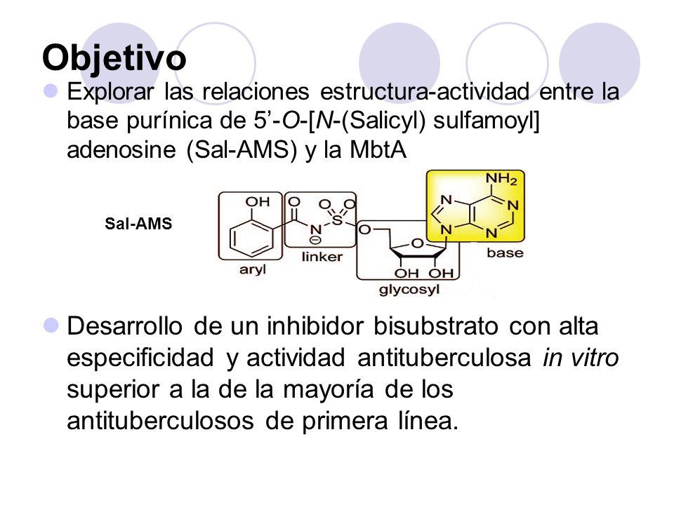 Objetivo Explorar las relaciones estructura-actividad entre la base purínica de 5'-O-[N-(Salicyl) sulfamoyl] adenosine (Sal-AMS) y la MbtA.